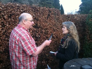 Lari being interviewed by an intrepid BBC reporter who found his way in